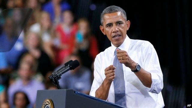 Obama discussed the economy and the middle class in Phoenix, Arizona, August 6, 2013.