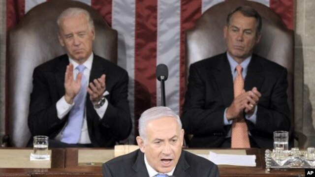 Israeli Prime Minister Benjamin Netanyahu addresses a joint meeting of Congress on Capitol Hill in Washington, May 24, 2011
