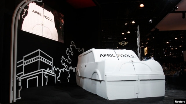 Mini unveils an April Fools joke before unveiling their new Mini Countryman car at the New York International Auto Show in New York April 1, 2010.