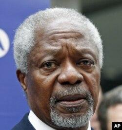 លោក Kofi Annan បេសកជនពិសេសរបស់អង្គការសហប្រជាជាតិនិងសម្ព័ន្ធអារ៉ាប់ថ្លែងទៅកាន់បណ្តាញផ្សាយព័ត៌មានបន្ទាប់ពីជួបជាមួយតំណាងរបស់ក្រុមប្រឆាំងនៃប្រទេសស៊ីរី។