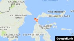 Peta Sulawesi dan letak episenter gempa. (Foto: Google)