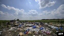 马航MH17号航班坠毁现场的残骸(2014年7月23日)