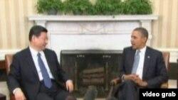 习近平访美时在白宫晤奥巴马(美国之音视频截图)