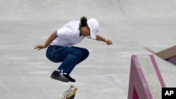 FILE - Alexis Sablone of the United States competes in the women's street skateboarding finals in Tokyo. The Tokyo Games are shaping up as a watershed for LGBTQ Olympians. Openly gay Sablone says 'it's about time.'