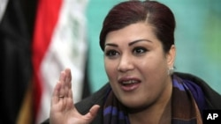 Iraqi MP Safiya al-Suhail is among the women lawmakers protesting the lack of female representation in the government formed earlier this week, Baghdad, 23 Dec 2010