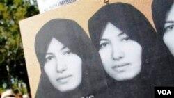 Iranís protestando por la sentencia de muerte contra Sakineh Mohammadi Ashtiani.