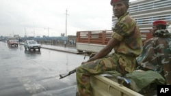 FILE - Members of the Ethiopian army on the streets of Addis Ababa.