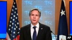 Ngoại trưởng Mỹ Antony Blinken công bố phúc trình về tình hình nhân quyền trên thế giới trong năm 2020 tại Bộ Ngoại giao ngày 30/3/2021.