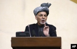 FILE - President Ashraf Ghani speaks during a joint meeting of the National Assembly in Kabul, Afghanistan, April 25, 2016. Ghani suggested last week the Taliban has become little more than a criminal enterprise.