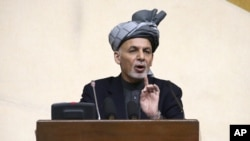 In this photo released by Afghanistan's Presidential Palace, President Ashraf Ghani speaks during a joint meeting of the National Assembly in Kabul, April 25, 2016. Ghani alleges Pakistan sheltering members of the Afghan Taliban.