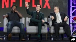 From left, Hannibal Buress, John Mulaney and Patton Oswalt seen at Netflix 2016 Winter TCA in Pasadena, Calif., Jan. 17, 2016.