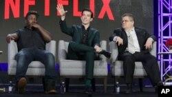 From left, Hannibal Buress, John Mulaney and Patton Oswalt seen at Netflix 2016 Winter TCA in Pasadena, Calif., Jan. 17, 2016.