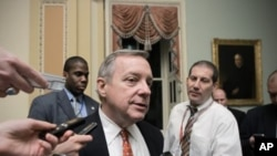 Assistant Majority Leader Sen. Dick Durbin, D-Ill., speaks with reporters in Washington. (File Photo)