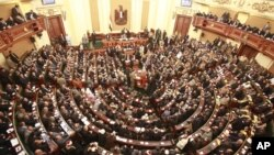 A general view of the first Egyptian parliament session after the revolution that ousted former President Hosni Mubarak, in Cairo, January 23, 2012