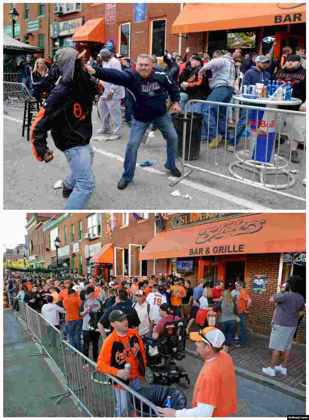 In the photo at top, a protester, left, fights with a bar patron on April 25, 2015 at a bar outside of Oriole Park at Camden Yards. In the bottom photo, bar patrons congregate at the same on April 19, 2016, in Baltimore.
