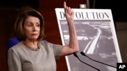 House Minority Leader Nancy Pelosi of Calif., speaks to the media during a news conference about infrastructure, Feb. 8, 2018, on Capitol Hill.
