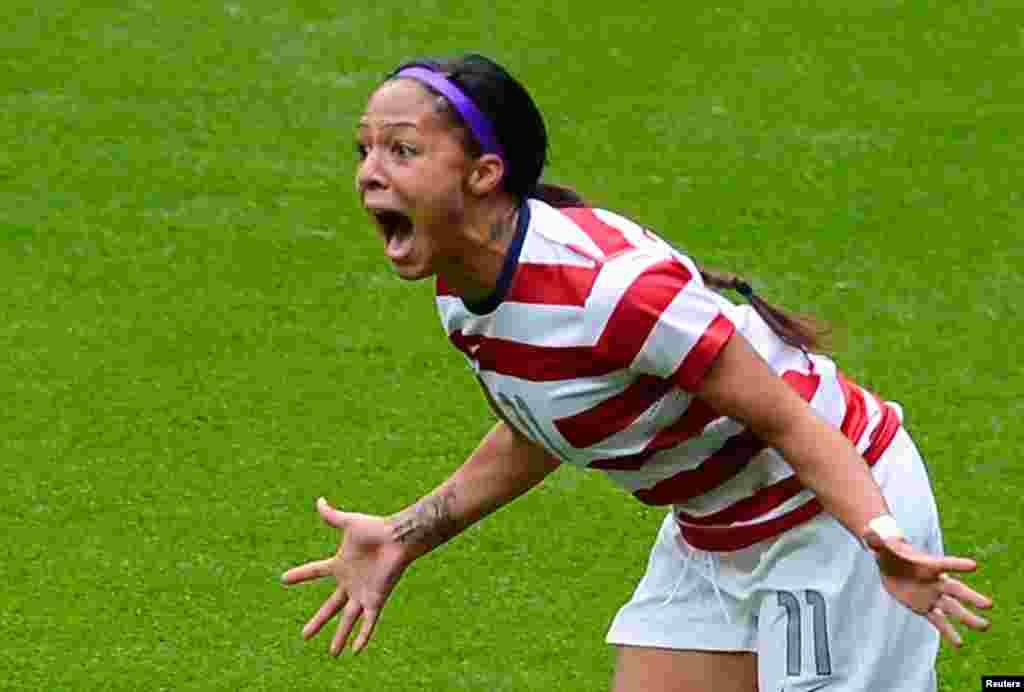 USA's Sydney Leroux celebrates scoring against New Zealand in their women's quarter final soccer match.