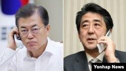 문재인 한국 대통령(왼쪽)과 아베 신조 일본 총리.