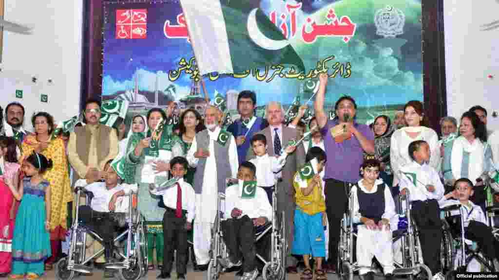 جشن آزادی کے موقع پر خصوصی(معذور) بچے بھی تقریب میں شریک۔