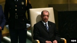 James Alix Michel, Président de la République des Seychelles, avant de prononcer son discours lors de la 70ème session de l'Assemblée générale des Nations Unies à New York, États-Unis, 29 septembre 2015. epa/ JASON SZENES
