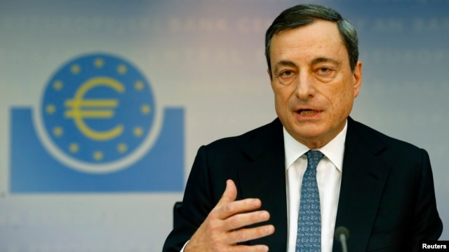 European Central Bank President Mario Draghi addresses the monthly ECB news conference in Frankfurt, Nov. 7, 2013.