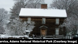 John Adams Birthplace in Massachusetts in winter. National Park Service, Adams National Historical Park