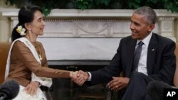 Aung San Suu Kyi Meets with President Barack Obama at the White House