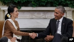Aung San Suu Kyi Meets with President Barack Obama at the White House on Wednesday, Sept. 14, 2016. (AP Photo/Carolyn Kaster)