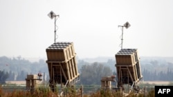 Obrambeni raketni sistem Čelična kupola, dizajniran za presretanje i uništavanje nadolazećih raketa kratkog dometa i topničkih granata, prikazani su u južnom izraelskom gradu Sderotu, 24. aprila 2021. godine.