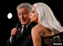 "Lady Gaga performs ""Cheek to Cheek"" with Tony Bennett at the 57th annual Grammy Awards in Los Angeles, California, Feb. 8, 2015."