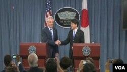 美國國防部長哈格爾星期五和正在美國訪問的日本防衛大臣小野寺五典舉行聯合記者會。(視頻截圖)