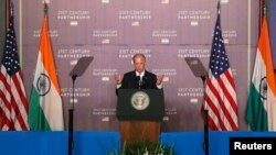 U.S. Vice President Joe Biden delivers an address at the Bombay Stock Exchange (BSE) in Mumbai, July 24, 2013.