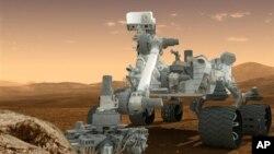 Hình ảnh xe Curiosity trên bề mặt Sao Hỏa. (AP/NASA)