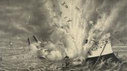 The destruction of the U.S. battleship Maine in Havana Harbor in 1898