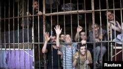 叙利亚阿勒颇监狱里的囚犯(资料照片)