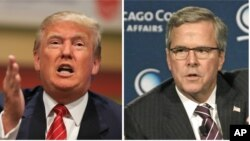 Republican presidential candidates Donald Trump, left, and Jeb Bush, right.