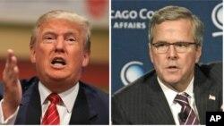 Republican presidential candidates Donald Trump, left, and Jeb Bush, right.