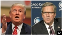 FILE - Republican presidential candidates Donald Trump, left, and Jeb Bush are among critics of the Obama administration's strategy for quelling terrorism.