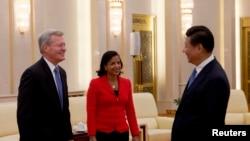 习近平主席会见美国国家安全顾问赖斯和驻华大使博卡斯,日期是9月9日,习近平走访北师大的同一天。