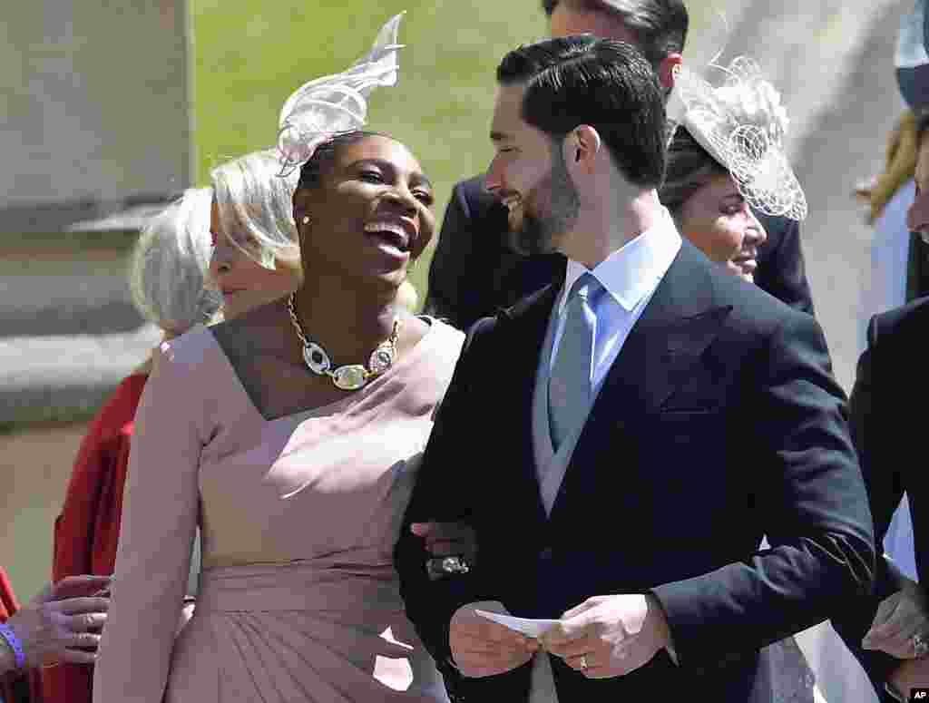 Serena Williams arrives with her husband, Alexis Ohanian, for the wedding ceremony of Prince Harry and Meghan Markle at St. George's Chapel in Windsor Castle in Windsor, near London, England, May 19, 2018.