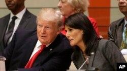 آقای ترامپ در کنار سفیر آمریکا در سازمان ملل. او جلسه اصلاح سازمان ملل را افتتاح کرد.