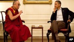 President Barack Obama meets with His Holiness the Dalai Lama in the Map Room of the White House, Saturday, July 16, 2011.