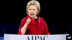Democratic presidential candidate Hillary Clinton speaks at the 2016 American Israel Public Affairs Committee (AIPAC) Policy Conference, March 21, 2016, at the Verizon Center in Washington.