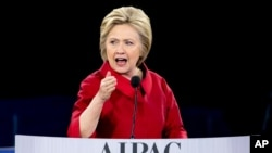 Democratic presidential candidate Hillary Clinton tells AIPAC conference 'America can't ever be neutral when it comes to Israel's security'
