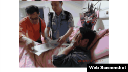 维权人士在医院看望受伤严重的陈云飞(维权网图片 )