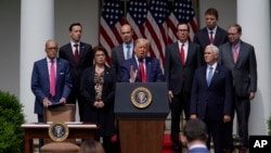 President Donald Trump speaks during a news conference in the Rose Garden of the White House, June 5, 2020, in Washington.