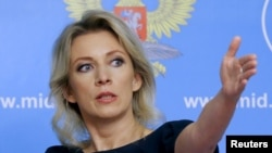 FILE - Russian Foreign Ministry spokesperson Maria Zakharova gestures during a news briefing in Moscow, Russia, Oct. 6, 2015.