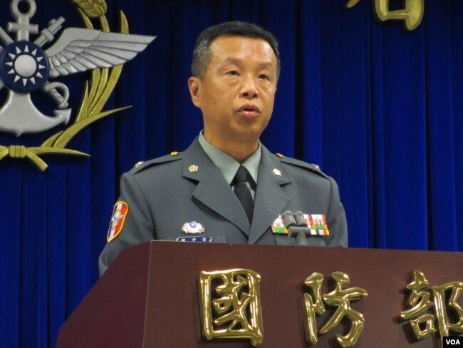 台灣國防部5月29號的例行記者會(美國之音張永泰拍攝)