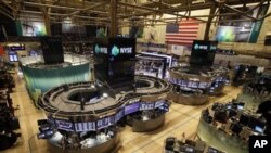 Floor of the New York Stock Exchange is empty of traders, lower Manhattan, Oct. 29, 2012.