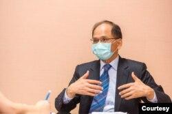 台湾立法院长游锡堃接受美国之音专访。(台湾立法院提供)